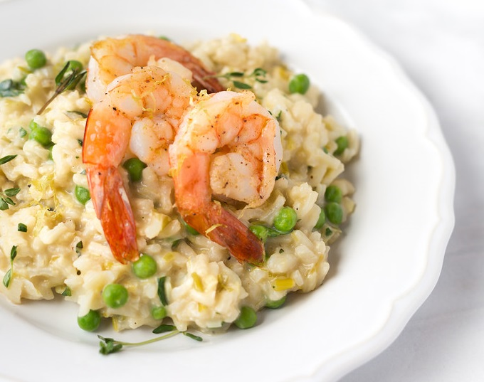 LiveIt | Champagne and Leek Risotto with Roasted Shrimp